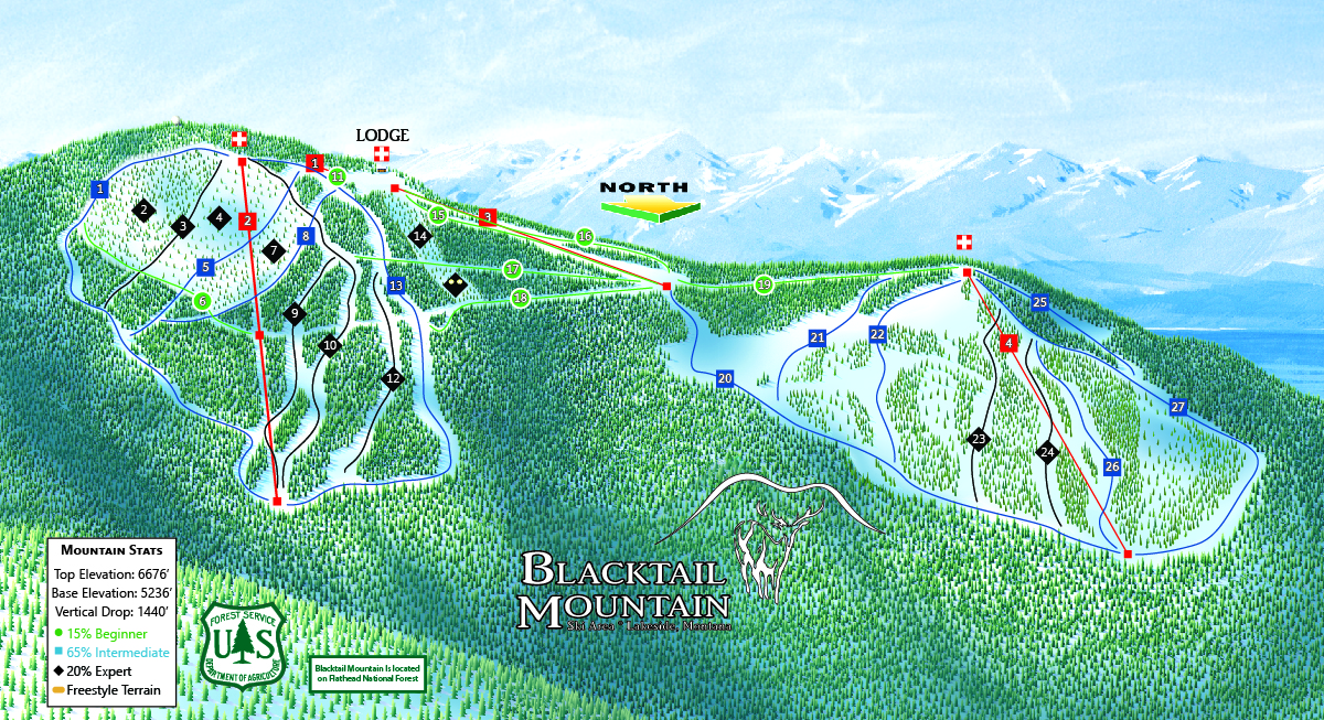 Trail Map Blacktail Mountain Ski Area